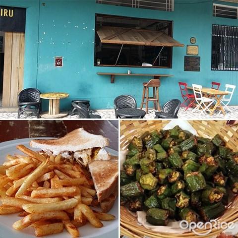 Biru-Biru Café, Coconut Ice Cream, Pusas, Fried Okra, Sabah